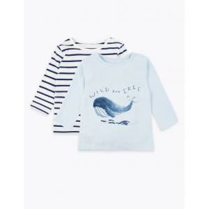 Marks & Spencer 2 Pack Pure Cotton Whale Print Tops - Light Blue Mix