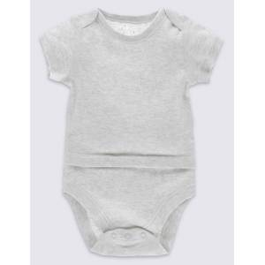 Marks & Spencer Adaptive Pure Cotton Bodysuit (0 Month - 3 Years) - Grey Marl