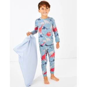 Marks & Spencer Dinosaur Skinny Fit Pyjama Set (1-7 Years) - Blue Mix