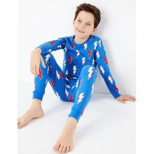 Marks & Spencer Cotton Rich Lightning Bolt Pyjamas (7-16 Years) - Blue