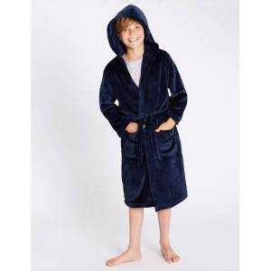 Marks & Spencer Hooded Dressing Gown (1-16 Yrs) - Navy Mix