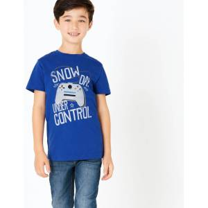 Marks & Spencer Cotton Snow Day Slogan Gamer T-Shirt (3-16 Years) - Bright Blue