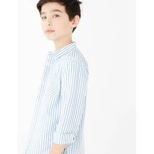 Marks & Spencer Cotton Striped Shirt (6-16 Years) - Light Blue