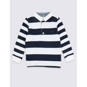 Marks & Spencer Pure Cotton Striped Rugby Top (3 Months - 7 Years) - Navy Mix