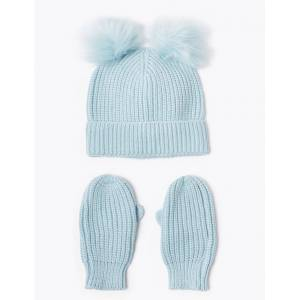 Marks & Spencer Kids' Pom Pom Hat & Mitten Set (6 Months - 6 Years) - Blue