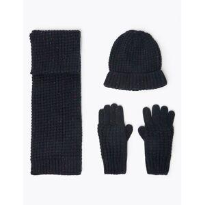 Marks & Spencer Kids' Textured Hat, Scarf & Gloves Set (3-14 Years) - Navy Mix