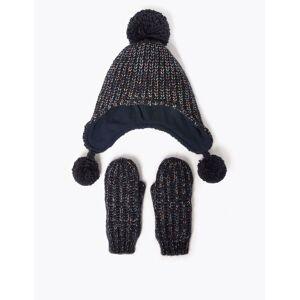Marks & Spencer Kids' Lurex Trapper Hat & Mitten Set (3-14 Years) - Navy