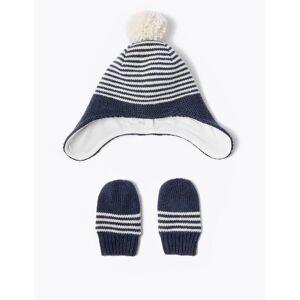 Marks & Spencer Baby Striped Trapper Hat & Mitten Set (0-12 Months) - Navy Mix