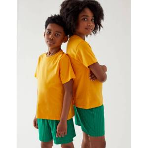 Marks & Spencer Unisex Pure Cotton T-Shirt - Yellow