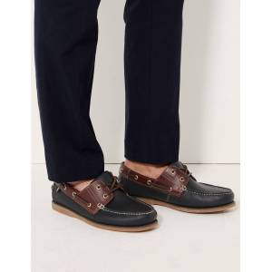 Marks & Spencer Leather Lace-up Boat Shoes with Freshfeet™ - Navy Mix