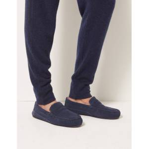 Marks & Spencer Big & Tall Suede Slippers with Freshfeet™ - Navy
