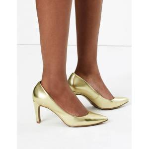 Marks & Spencer Stiletto Heel Pointed Court Shoes - Mocha