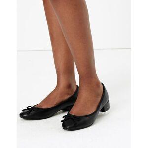 Marks & Spencer Leather Round Toe Ballet Pumps - Black