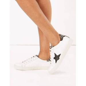 Marks & Spencer Leather Lace Up Star Print Trainers - White Mix