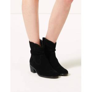 Marks & Spencer Suede Slouch Western Block Heel Ankle Boots - Black