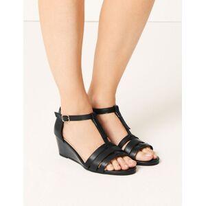 Marks & Spencer Wide Fit Leather Wedge Sandals - Black