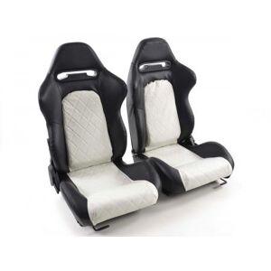 FK-Automotive Sportseat Set Detroit artificial leather  black/white