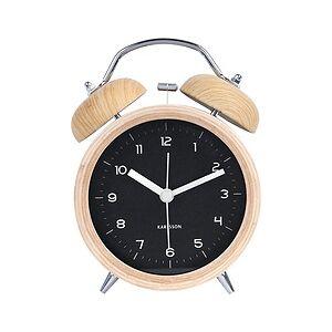 Karlsson Classic Bell Black wooden alarm clock