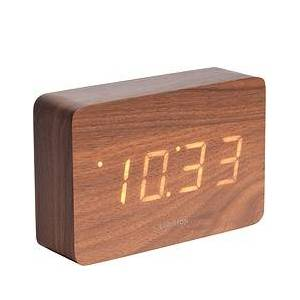 Karlsson LED Square Alarm clock dark wood