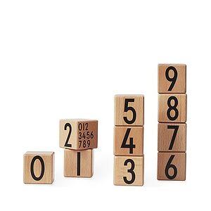 Design Letters Wooden blocks 0-9 natural wood