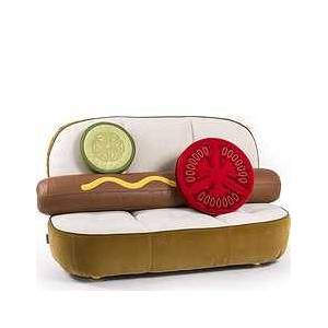Seletti Hot Dog sofa with pillows