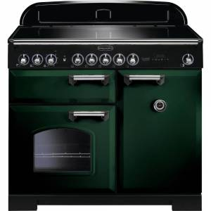 Rangemaster CDL100EIRG/C 100cm Classic Deluxe Electric Induction Racing Green/Chrome Range Cooker