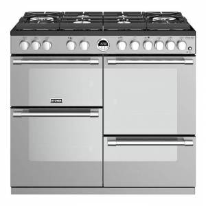 Stoves Sterling Deluxe STRDXS1000DFGSS 100cm Dual Fuel Range Cooker With A Gas-Through-Glass Hob Stainless Steel