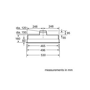 Siemens LB55565GB 53cm Canopy Hood Metalic Silver