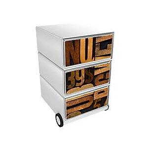 Paperflow Mobile Pedestal EasyBox with 3 Drawers Numbers and Letters Brown, White 390 x 436 x 642 mm