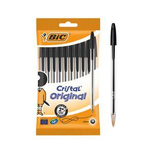 BIC Cristal Original Ballpoint Pen Medium 0.4 mm Black Pack of 10
