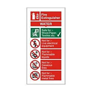 Unbranded Fire Extinguisher Sign Water PVC 20 x 10 cm