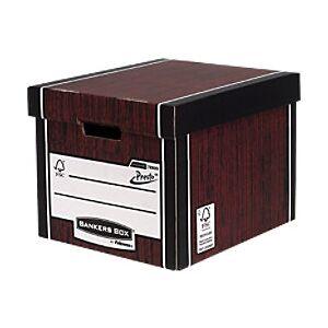 BANKERS BOX Premium Heavy-Duty Tall Storage Box Woodgrain - Pack of 10