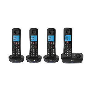 BT Essential Quad Cordless Telephone 90660 Black Quad Handset