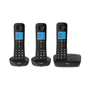 BT Essential DECT TAM Cordless Telephone 90659 Black Trio Handset