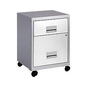 Pierre Henry Filing Cabinet Combi Silver, White 400 x 400 x 530 mm