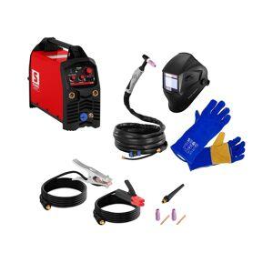 Stamos Germany TIG Welder Set - 200 A - IGBT + welding helmet LEGEND + welding gloves
