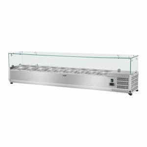 Royal Catering Countertop Refrigerated Display Case - 180 x 33 cm - 9 GN 1/4 Containers - Glass Cover