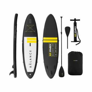 Gymrex Inflatable SUP Board - 145 kg - black/yellow - set with paddle and accessories