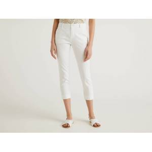 United Benetton, Cropped Chinos In Stretch Cotton, size 48, White, Women