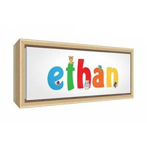 Little Helper Canvas with Colour Example Solid Wood Frame with Boy Name Ethan 19x 18x 3