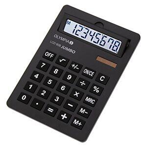 Olympia LCD 908 Jumbo Professional/Desk Display Calculator, Battery, Solar Energy Driven, Tilted Display