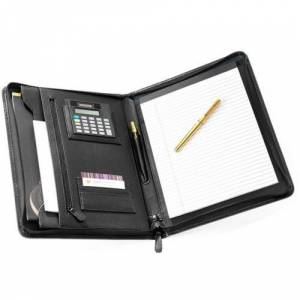 Falcon FI6512 Leather A4 Zip Conference Folder with Calculator