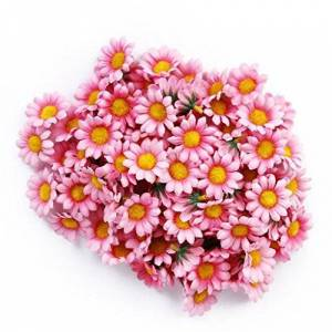AKORD Approx 100pcs Artificial Gerbera Daisy Silk Flowers Heads for DIY Wedding Party (Dark Pink)
