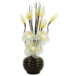 Flourish Coffee Vase with Cream and Gold Artificial Flowers, Ornaments for Living Room, Window Sill, Home Accessories, 32cm