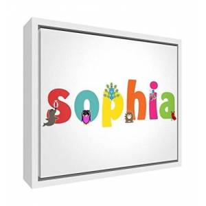 Little Helper Feel Good Art Girl's Name Framed Box Canvas with Solid Wooden Surround in Cute Illustrative Design (64 x 44 x 3 cm, Large, Sophia)