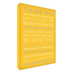 Feel Good Art Gallery Wrapped Box Canvas with Solid Front Panel (91 x 60 x 4 cm, X-Large, Yellow, Be Positive from the Inspiration Collection)