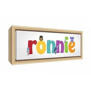 Feel Good Art Framed Box Canvas with Solid Natural Wooden Surround in Cute Illustrative Design Boy's Name (34 x 88 x 3 cm, Large, Ronnie)