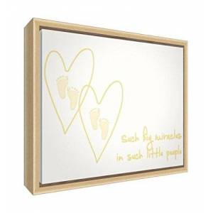 Feel Good Art Eco-Printed & Framed Nursery Canvas with Solid Natural Wooden Frame  Yellow, 64 x 44 x 3cm (Large)