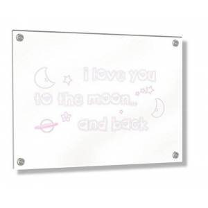 Feel Good Art Wall Mounted Acrylic Frame with Stand-Off Bolts (30 x 20 x 0.6 cm, Small, Soft Pink, I Love You to The Moon and Back/Nursery Dècor)