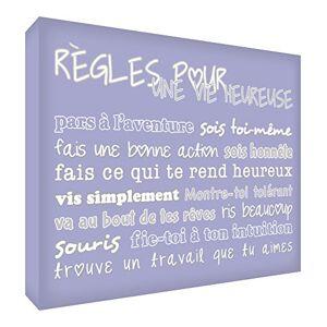 Feel Good Art Rules for Happy Life Decorative Block, Lilac, 14.8 x 21 cm